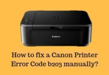 How to fix a Canon Printer Error Code b203 manually_