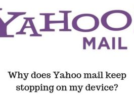 Why does Yahoo mail keep stopping on my device_